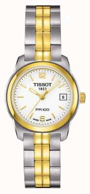 Tissot Womens PR100 Two Tone Stainless Steel White Dial Gold Plated T0492102201700