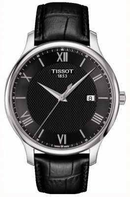 Tissot Mens Tradition Black Dial Black Leather Strap T0636101605800