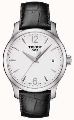 Tissot Womens Tradition Silver Dial Black Leather Strap T0632101603700