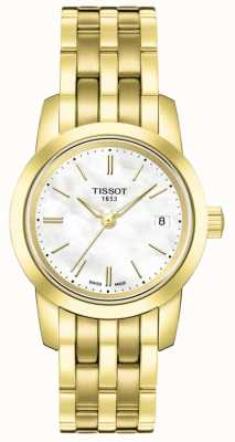 Tissot Womens Classic Mother Of Pearl Dial Gold Plated Bracelet T0332103311100