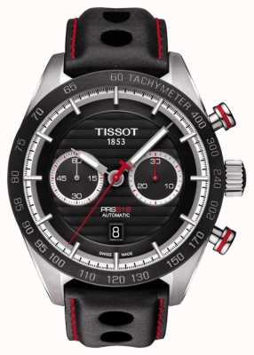 Tissot Mens PRS 516 Black Leather Automatic Chronograph Swiss Made T1004271605100