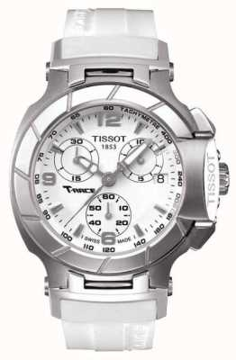 Tissot Mens T-Race Chronograph White Rubber Strap White Dial T0482171701700