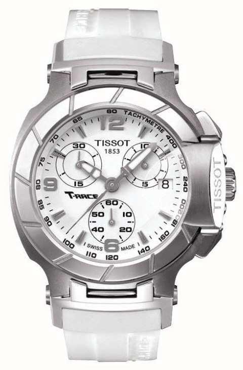 Tissot Mens T Race Chronograph White Rubber Strap White