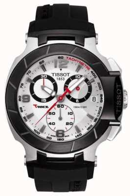 Tissot Mens T-Race Chronograph Black Strap White Dial T0484172703700