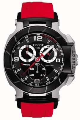Tissot Mens T-Race Red Rubber Strap Black Dial T0484172705701