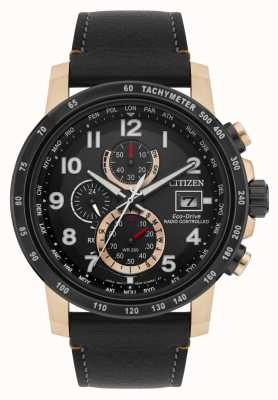 Citizen Mens Radio Controlled H800 A-T Perpetual Chronograph Black & Rose-gold IP AT8126-02E