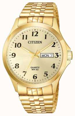 Citizen Mens Quartz Gold Plated Expansion Bracelet Day Date BF5002-99P
