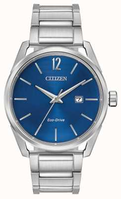 Citizen Men's Eco-Drive Stainless Steel Blue Dial Date Display BM7410-51L
