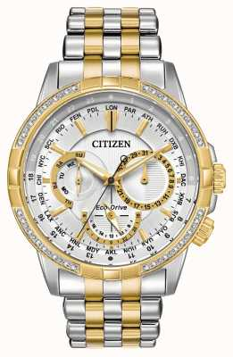 Citizen Mens Calendrier Diamonds Stainless Steel and Gold IP Watch BU2084-51A