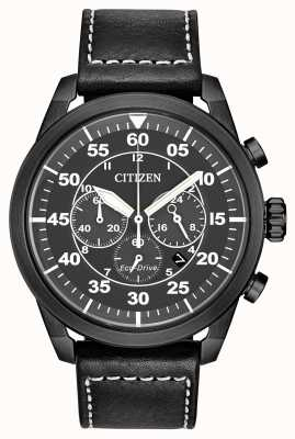Citizen Men's Avion Eco-Drive Black Leather Black Dial Chronograph CA4215-21H