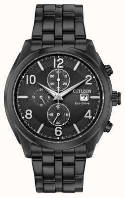 Citizen Mens Eco-Drive Black PVD Plated Date Display WR100 CA0675-57E