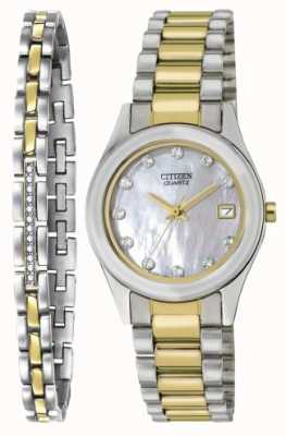 Citizen Womens Quartz Mother Of Pearl Watch & Bracelet Set EU2664-59D-SETR