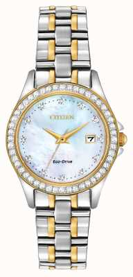 Citizen Womens Eco-Drive Two Tone Crystal Set Case EW1844-50Y