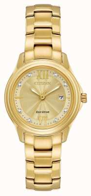 Citizen Ladies Silhouette Crystal-set Gold IP Watch FE1132-84P