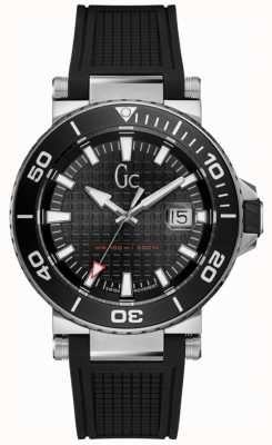 Gc Divercode Mens Black Rubber Strap Black Dial Y36002G2