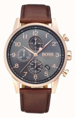 Boss Navigator Chronograph Date Display Black Dial Brown Leather 1513496