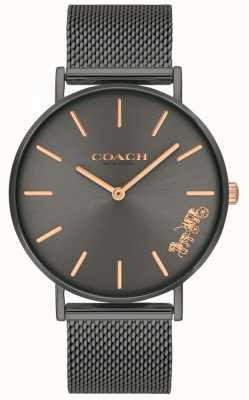 Coach Women's Perry Grey IP Steel Mesh Bracelet Watch 14503127
