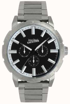 Jean Paul Gaultier Bomber Mens Stainless Steel Bracelet Watch Black Dial JP8505404