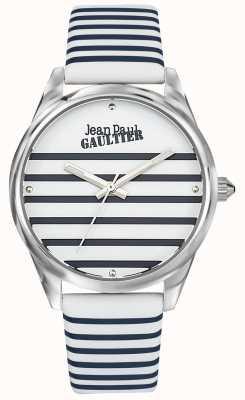 Jean Paul Gaultier Navy Womens Stripe Watch Leather Strap JP8502416