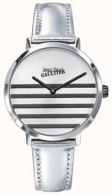 Jean Paul Gaultier Glam Navy Womens Silver Leather Strap Watch JP8505607