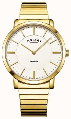 Rotary Mens London Gold Stainless Steel Expanding Bracelet Watch GB02766/03