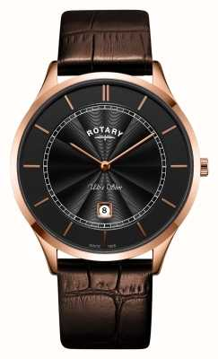 Rotary Mens Ultra Slim Rose Gold Brown Leather Strap GS08404/04