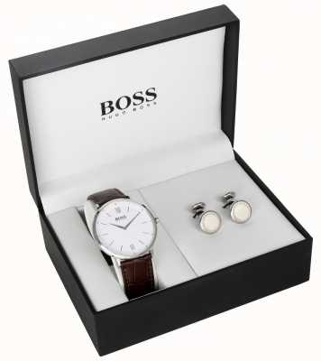 Boss Mens Brown Leather White Dial Cufflink Gift Set 1570069