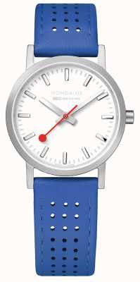 Mondaine SBB Classic 30mm White Dial Blue Leather Strap Watch A658.30323.16SBD