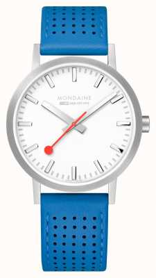 Mondaine SBB Classic 40mm White Dial Blue Leather Strap Watch A660.30360.16SBD