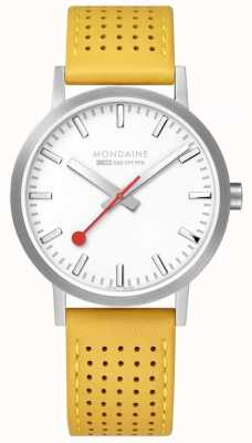 Mondaine SBB Classic 40mm White Dial Yellow Leather Strap Watch A660.30360.16SBE