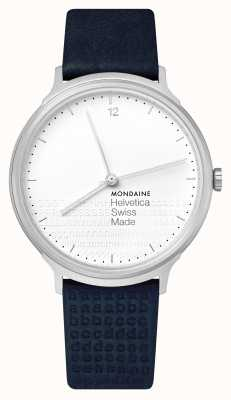 Mondaine Helvetica No. 1 Light White Dial Blue Embossed Strap MH1.L2110.LD