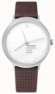 Mondaine Helvetica No. 1 Light White Dial Brown Embossed Strap MH1.L2110.LG