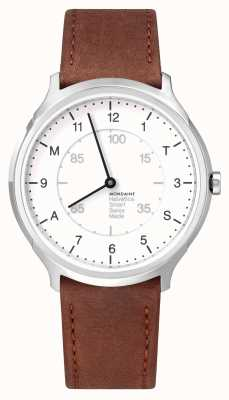 Mondaine Helvetica Smart 40mm White Dial Brown Leather Strap MH1.R2S10.LG