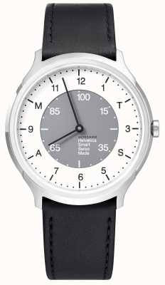 Mondaine Helvetica Smart 40mm White Grey Dial Black Leather Strap MH1.R2S10.LB