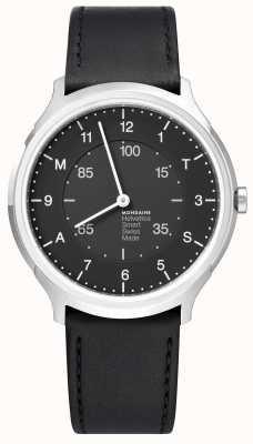 Mondaine Helvetica Smart 40mm Black Dial Black Leather Strap MH1.R2S20.LB
