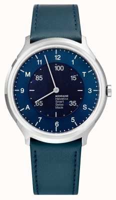 Mondaine Helvetica Smart 40mm Blue Dial Blue Leather Strap MH1.R2S40.LD