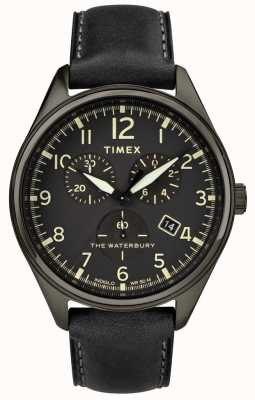 Timex Mens Waterbury Traditional Black Chrono Black Leather TW2R88400