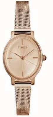 Timex Ladies Milano Oval Rose Gold Mesh Watch TW2R94300D7PF
