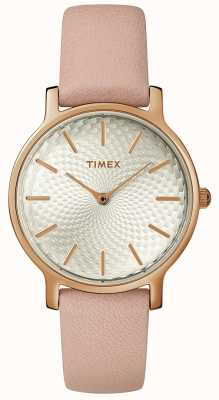 Timex Womens Metropolitan Leather Strap Watch Silver Rose Gold TW2R85200D7PF
