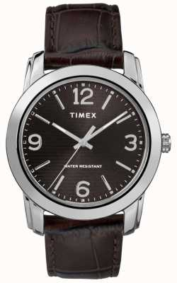 Timex Men's Brown Leather Crocodile Strap Black Dial TW2R86700
