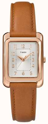 Timex Women's Tan Leather Strap Silver Tone Dial TW2R89500D7PF