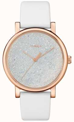 Timex Women's White Leather Watch With Swarovski Crystals TW2R95000D7PF