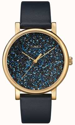 Timex Women's Blue Leather Watch With Swarovski Crystals TW2R98100D7PF