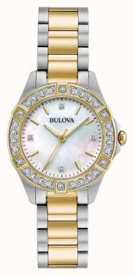 Bulova Womens Two Tone Diamond Set Watch 98R236