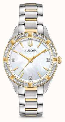 Bulova Womens Two Tone Diamond Set Watch 98R263