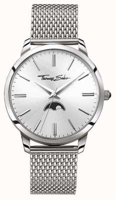 Thomas Sabo Mens Rebel At Heart Spirit Moonphase Watch Silver Mesh WA0324-201-201-42