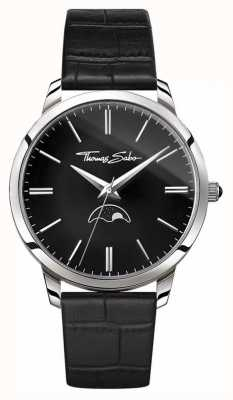 Thomas Sabo Mens Rebel At Heart Spirit Moonphase Watch Black Leather WA0325-218-203-42