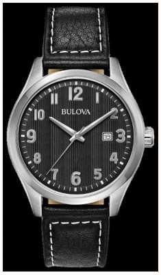 Bulova Mens Watch Black Dial black leather strap 96B299