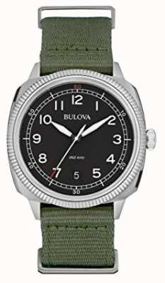 Bulova Mens Military Watch Black Dial green canvas strap 96B299