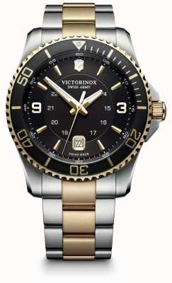 Victorinox Swiss Army Mens Maverick Two Tone Steel Bracelet Black Dial 241824